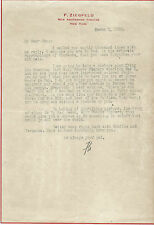 Lettera Autografo Florenz Ziegfeld Follies 1926 Teatro Rivista Broadway Haggin