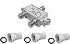 Verteiler HD Sat Splitter 2 fach Stecker 5-2400MHz Digital Kabel F Buchse 2fach