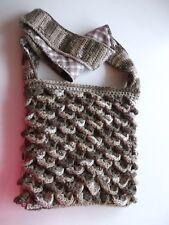 HAND Crochet Stitch Borsetta di coccodrillo, completamente foderato con chiusura a zip