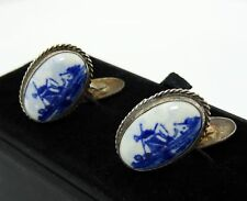 Silver Cufflinks Delft Holland Windmill Ceramic Blue White Vintage