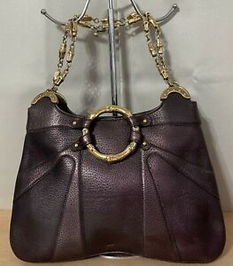 Gucci Italy TOM FORD Purple Metallic Leather Bamboo Chain Medium Shoulder Bag