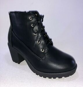 Kid/'s Happy Soda SECOND Black Chunky Heel Lace-Up Ankle Boot Shoes