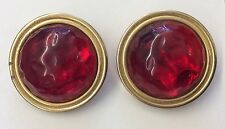 Fabulous!!! CAROLEE Vintage Ruby Red Resin Gripoix Goldtone Clip-on Earrings