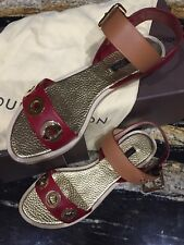 4e11af13b947 Louis Vuitton Lounger Sandals Red Leather Size 38 1 2 US 7.5 8 Medium New