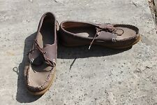 Mens Brown Cotton Traders Leather Shoes Size 8 Lace Up Deck Loafers