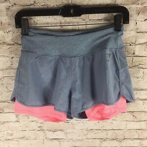 GymShark Womens Dry Nova Running Shorts Blue Hot Pink Small Layered Compression