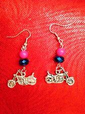 Beaded Motorcycle Earrings Handmade Biker Hot Rod Pin Up Harley