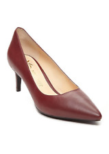 NEW NINE WEST WINE RED LEATHER POINTY LOW HEEL PUMPS  M 7.5  M 8.5  $79