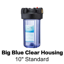 """4.5"""" x 10"""" Big Blue Clear Housing For Whole House Water Filter - 1"""" Outlet/Inlet"""