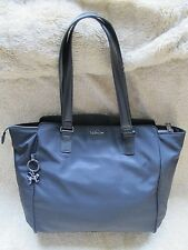 Genuine Kipling JULIENE Nero Nylon Shopper/Tote Bag con manici in pelle