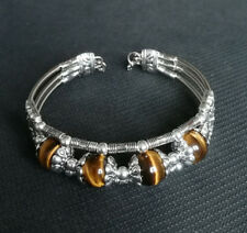 Ladies Bangle Tibetan Silver Bangle Tiger Eye Stone Woman Bracelet Jewelry