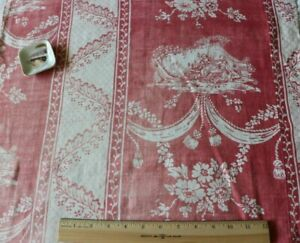 """Antique French 18thC Resist Faded Linen Personage Toile de JouyFabric~38""""X 21"""""""