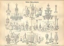 Stampa antica BICCHIERI COPPE LAMPADARI oggetti in VETRO 1890 Old antique print