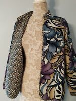 Alfred Dunner Blazer  Quilted Open Style Foral  Blazer SIZE 16 PETITE