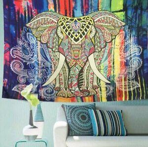 Large Elephant Indian Wall Hanging Tapestry Bedspread Mandala Bohemian Throw Rug
