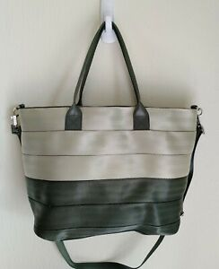 Harvey's Seatbelt Tote, Light Taupe/Forest Green...Never Used!