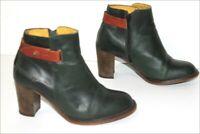 KICKERS  Bottines Boots à Talons Cuir Vert Foncé Doublées Cuir T 37 BE