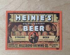 Nos Antique Hillsboro Brewing Company Beer Label Breweriana