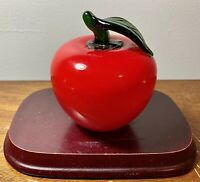 "Vintage Murano Style Blown Art Glass Apple Fruit Vegetables Cased Colors 4"" x 4"""