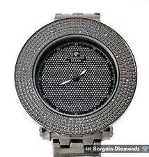 "mens big black diamond ice out watch 2 bezel deluxe set 8.5"" bracelet maxx"