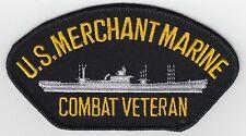 Merchant Marine Combat Veteran Iron On Hat Patch Vest Jacket  *FREE SHIPPING*