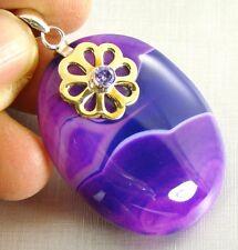 PURPLE STRIPE ONYX SEMI-PRECIOUS STONE 925 Silver & Brass Necklace Pendant - 96h