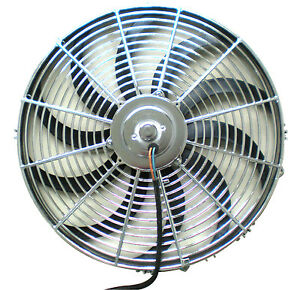 """16 Inch radiator 2300CFM, HD Reversible Electric fan kit curved blade chevy for"""""""