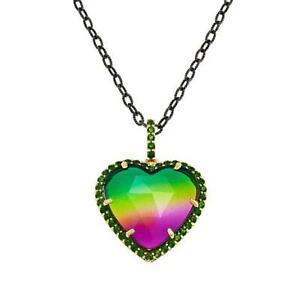 "HSN Rarities Quartz Doublet & Chrome Diopside Heart Pendant with 20"" Chain $399"