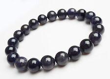 Natural Brazil Blue Iolite Cordierite Gemstone Round Bead Bracelet 7mm