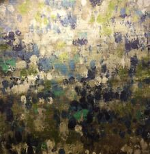 KRAVET COUTURE Painted Velvet Turquoise Cotton Viscose Italy Remnant New