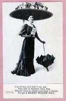 "Ca 1909 ""Merry Widow Hat"" Antique  I. Grollman  B&W  Greetings  Postcard - MW-08"