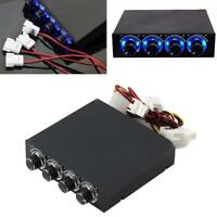 4 Channel 3.5 inch PC HDD CPU Fan Speed Controller Blue LED Cooling Front Panel