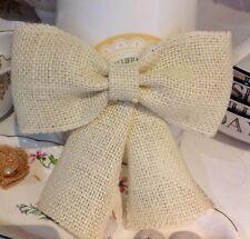 "3 Ivory Hessian Bows 6"" Handmade Cakes Wreaths Christmas Decorations"