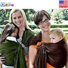 Baby Infant Newborn Adjustable Carrier Ring Sling Wrap Rider Pouch Brown, New