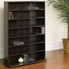 Multimedia Storage Wall Bookcase Organizer Bookshelf Tower Black Wood CD DVD