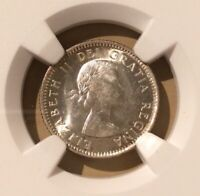 1953 Canada 10 Cents NGC MS 62 - Silver - Shoulder Fold
