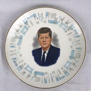 """JFK Royal China Blue Heaven Glazed 10"""" Dinner Plate John F Kennedy Portrait VTG"""