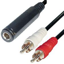 Audio Kabel 20 cm 6,3mm Klinke Buchse auf 2 Cinch Stecker Klinken Adapter
