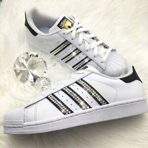 Bling Women's Adidas Shoes w/ Swarovski Crystals Originals Superstar Black Clear