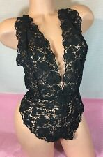 NWT victoria's Secret Black Lace Deep V Neck Teddy Lingerie Size Small