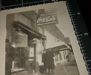 1940s COCA COLA DRUG STORE HANGINS SIGN Entrance Ad Vintage Snapshot PHOTO