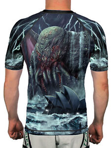 Raven Fightwear Men's Cthulhu Rises Short Sleeve Rash Guard MMA BJJ Black