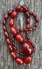 Vintage Art Deco Cherry Amber - Red Bakelite - Plastic - Bead Necklace Wgt 60g