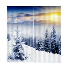 2 Panel 3D Winter Print Window Curtains Room Nature Scenery Picture Decor