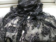 E442 Black Silver Floral ROSE Glitter Mesh Evening Ladies Scarf Pashmina