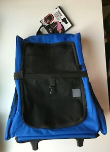 Pet Carrier Rolling Backpack Dog Cat Travel Tote Airline Crate Luggage Bag Blue