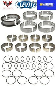 CHEVY 6.0 6.0L LQ4 LQ9 HASTINGS PISTON RINGS WITH CLEVITE ROD AND MAIN BEARINGS