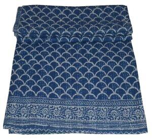 Hand Block Indigo Cotton Kantha Quilt Throw Blanket Handmade Bedspread Gudari