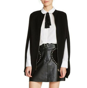 Maje Cardigan 1 Milord Sweater Black Zip Front Cape Knit Piping Women's NWT $570