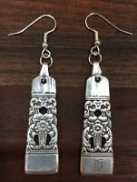 "Antique Vintage Spoon Community  Coronation ""W""Earrings Silverware Plate Jewelry"